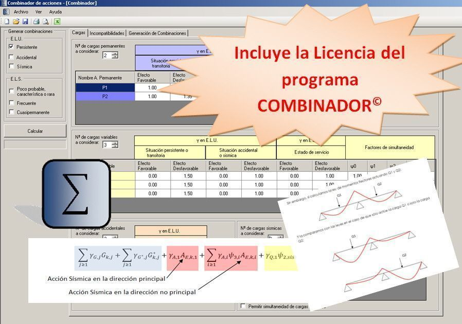 Curso de combinaciones con COMBINADOR ELU y ELS