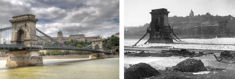 A la izquierda el estado actual del Puente de Las Cadenas. A la derecha como quedó tras un bombardeo durante la 2ª Guerra Mundial.