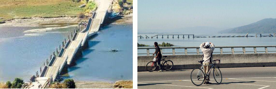 Ejemplo de puentes reales que colapsaron en el terremoto de Chile de 2010