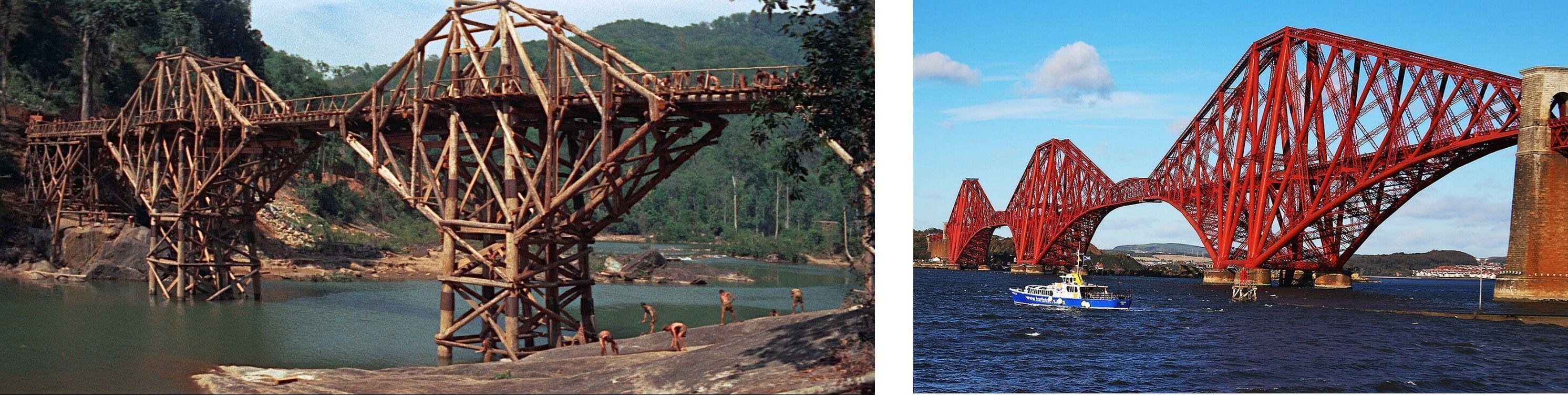 A la izquierda el puente construido para la película  y a la derecha el Puente de Forth