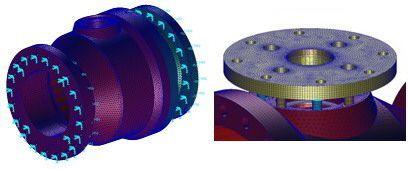 """Mallado de los componentes de la válvula de 8"""" para la Fase I"""