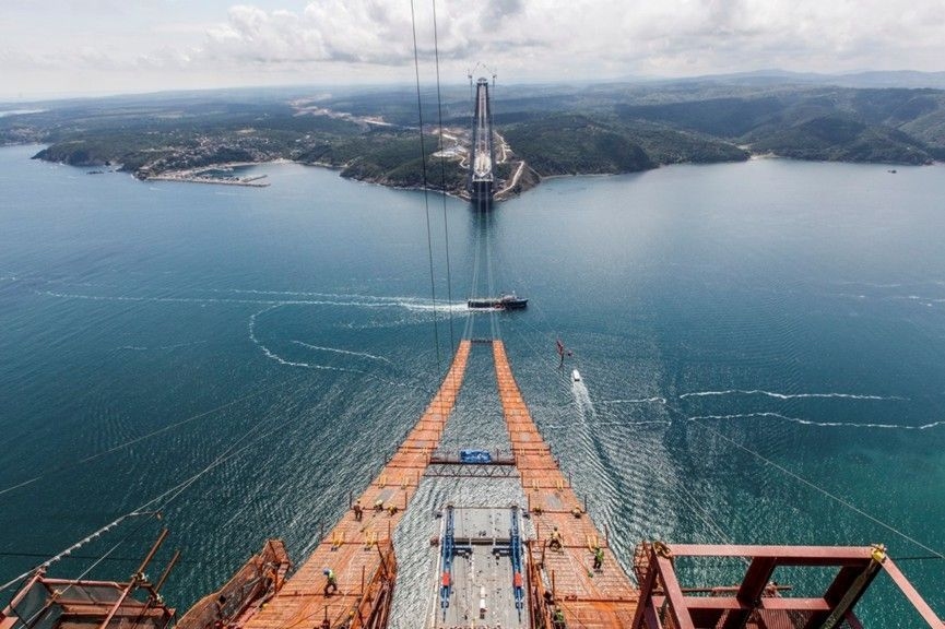 Fotografía de la Construcción del Tercer Puente sobre el Estrecho del Bósforo en Turquía. Fuente: www.3kopru.com