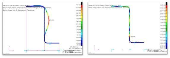 Resultado desplazamientos (izquierda) y tensiones (derecha). Espectro en X