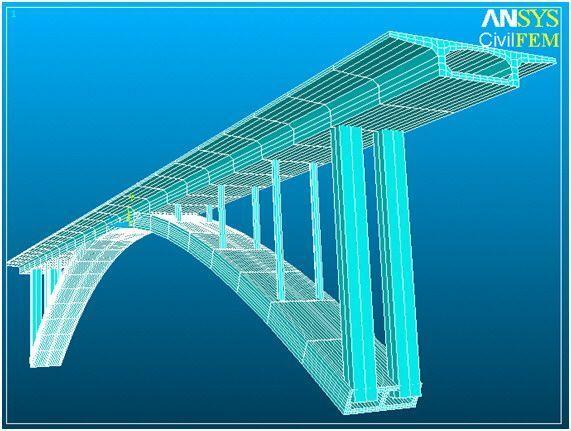 Análisis de un puente con CivilFEM para ANSYS.
