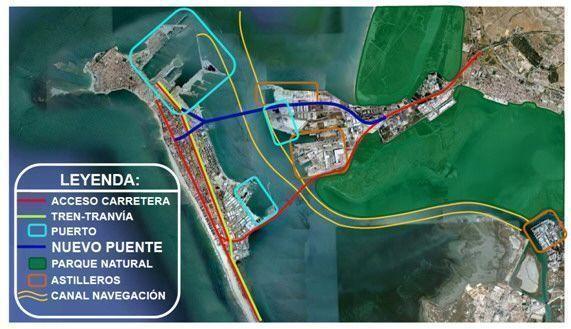 Planta bahía de Cádiz con el puente la Pepa