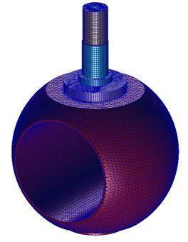 """Mallado de los componentes de la válvula para la Fase II. Válvula de 8"""""""