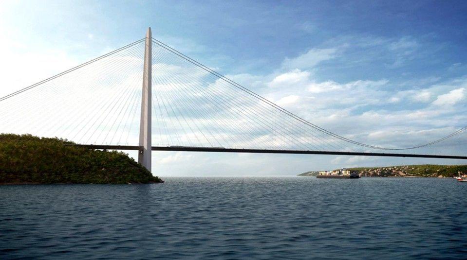 Render del Tercer Puente sobre el Estrecho del Bósforo en Turquía (en construcción en la actualidad). Fuente: www.3kopru.com