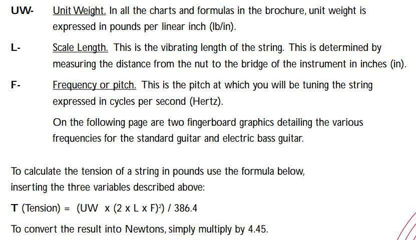 Regla para obtener la tensión en la cuerda de una guitarra. Fuente: (2)